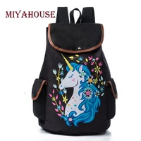 Miyahouse Drawstring Design Travel Rucksack For Teenager Girls Cartoon Unicorn Printed School Backpack Canvas Lady School