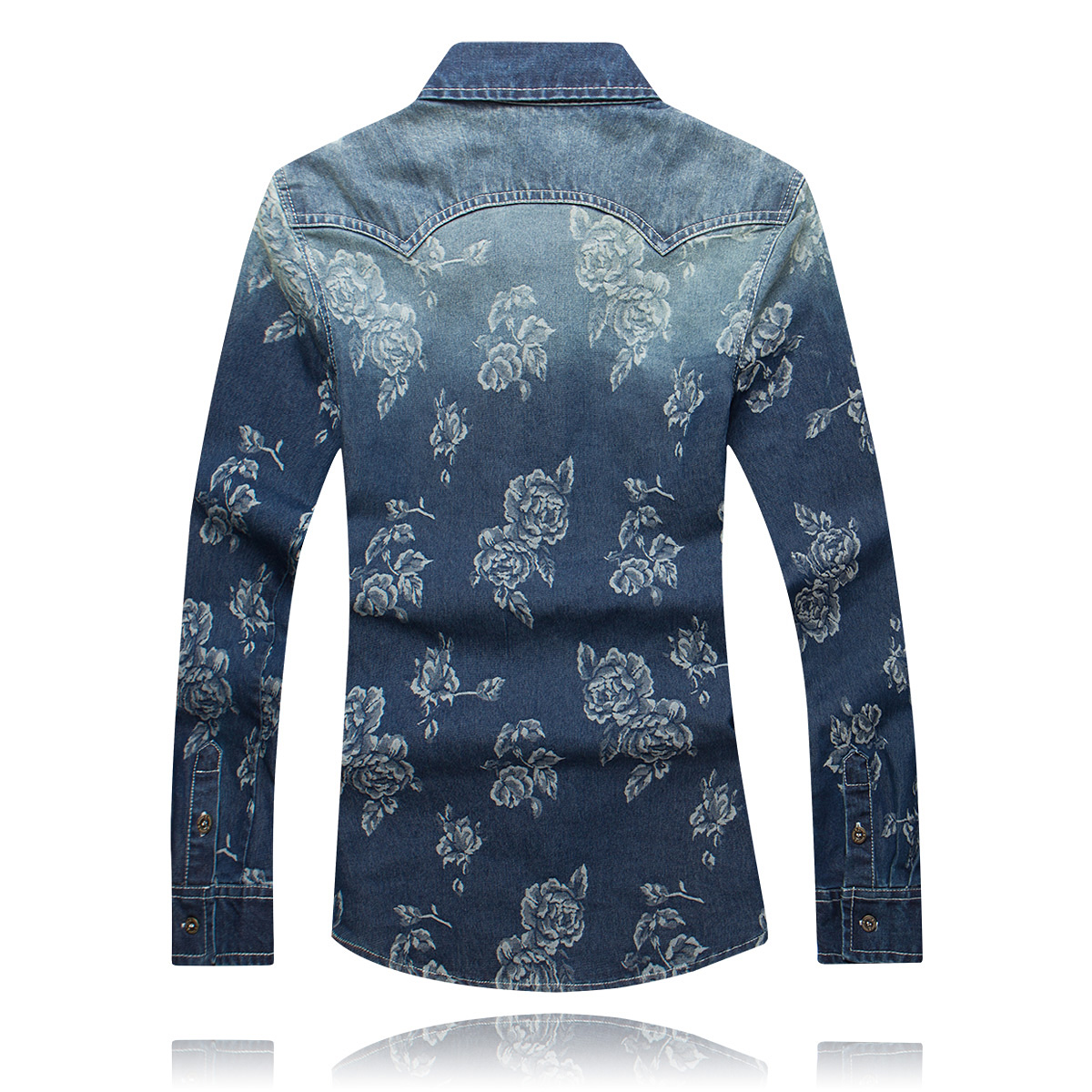 Shirt Jeans Long Sleeve Men 2017 New Male Cotton Jeans Shirt Boy