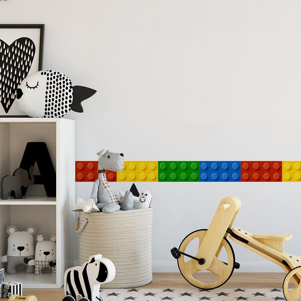 Funlife Blocks Decorative Wall Sticker Borders For Kids,Self-adhesive 3D Wallpaper Borders,Children Classroom Bedroom Wall Decor