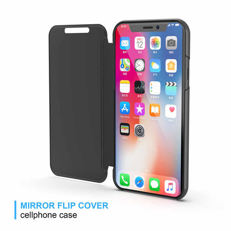 more photos 12d6d 8ba6f Flip Stand Touch Case For Iphone X XR XS MAX 10 5 5S Se Luxury Mirror Cover  Coque For Iphone 8 7 6 6S Plus 5Se2 8Plus 7Plus Etui