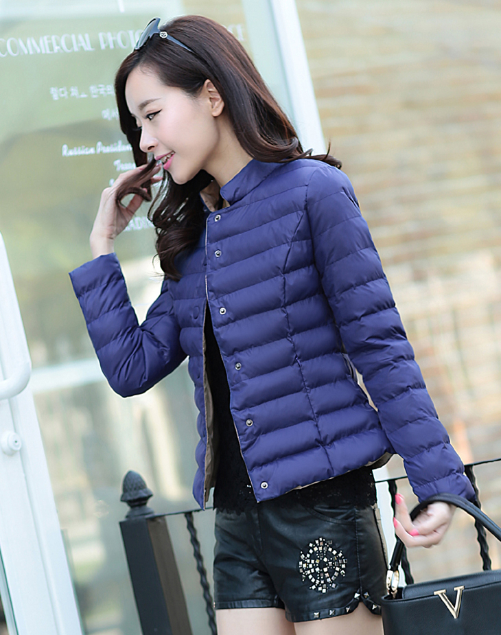 2017 Autumn And Winter Women's Cotton Collar Collar Cotton Collar Short Section Slim Collarless Jacket Waist Was Thin Jacket.