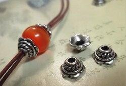 50 pcs/lot 7mm rétro argent imitation perle casquettes bricolage alliage bijoux accessoires pour bracelets colliers faisant