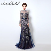 Long Sleeves Evening Dresses Sexy Sheer High Neck Backless Navy Blue Mermaid Celebrity Party Gowns vestidos de fiesta CC014