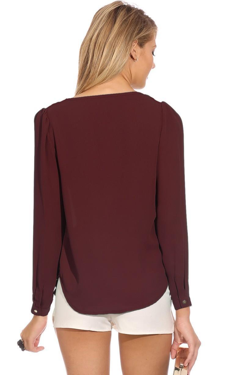 2017 Wysokiej Jakości Kobiety Bluzki i Koszule głębokie v szyi ubrania Mody Stałe szyfonowa Koszula sexy Bluzki Koszule damskie 13