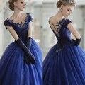Azul real Vestidos de Quinceañera 2016 Sexy Gótico Dulce 16 Vestidos Scoop de Encaje Vestidos De 15 Anos de Debutante Vestidos Cap Corto manga