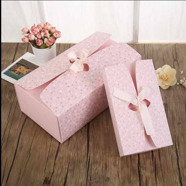 10pcs High-grade Large cardboard Gift box+ribbon packaging wedding, Pink/Blue Rectangle gift paper boxes packing for girls