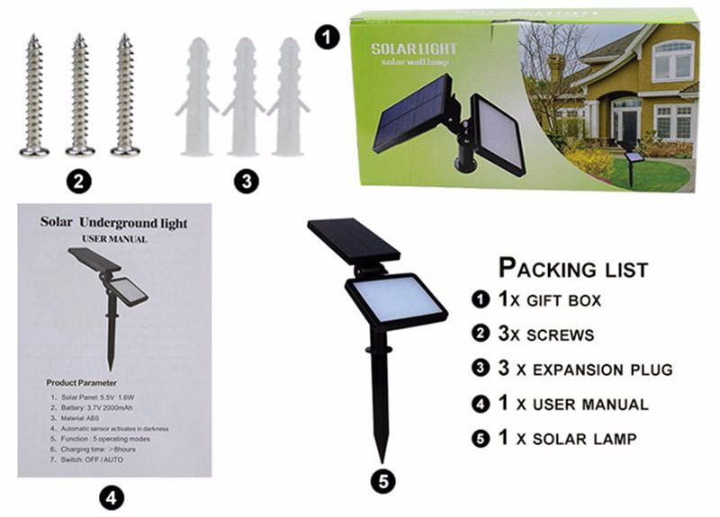 New Outdoor Solar Lamp IP65 Waterproof Modern Garden Solar lights 48leds SMD 2835 Emergency Led Lawn Lighting Bulb Lampe Solaire (7)