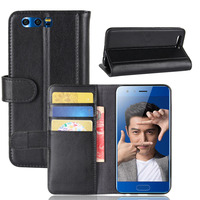 Flip Wallet Style Bovine Skin Leather Case Cover for Huawei Honor 9 Magnetic with Mastercard/Visa Card Slot Holders