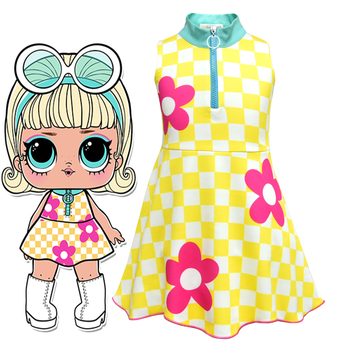 Lol Dolls Baby Dresses 2018 Summer Cute Elegant Dress Kids Party Christmas Costumes Children Clothes Princess Lol Girls Dress fashion christmas dress girls party accessories children s halloween costumes for girls party dress kids cute birthday dresses