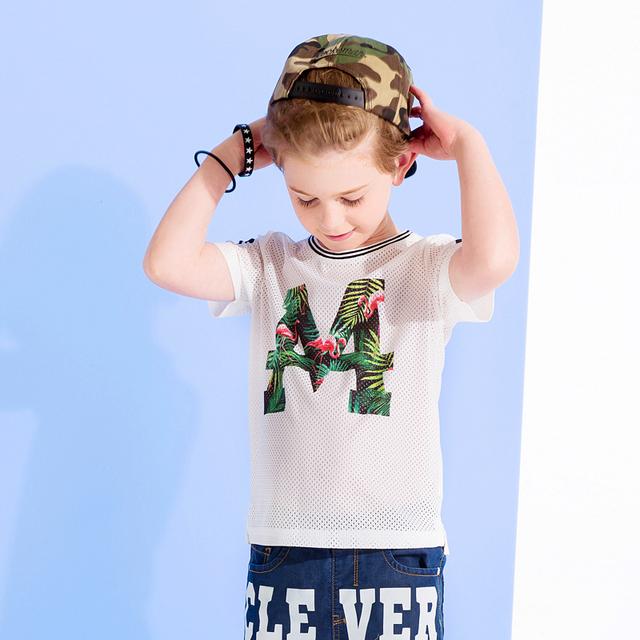 Adolescente Menino Tshirts Do Algodão Mangas Crianças Ropa Roupas Para meninos 6 Anos de Esporte Tshirt Camiseta Meninos Verão de 2016 50H013