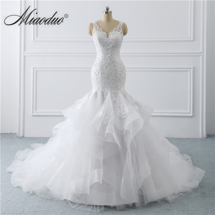 Miaoduo Wedding Dress Mermaid 2019 with Ruffled V Neck Sleeveless Pearls White Ivory Beaded Bridal Gowns