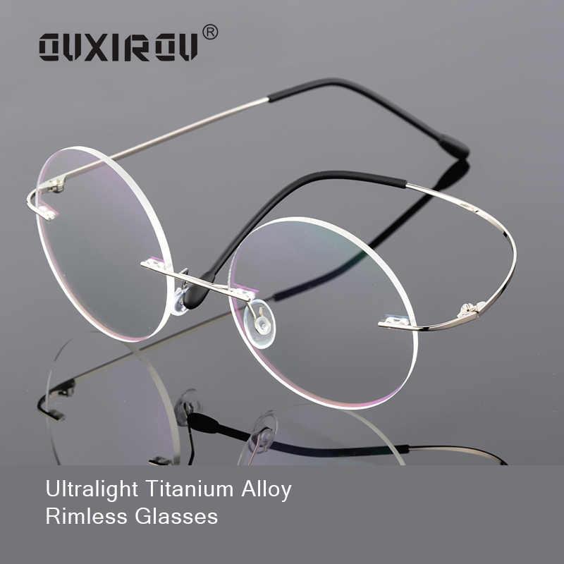 46b2e2ebdb Memory Titanium Rimless Eyeglasses Women Men Lightweight Flexible Optical  Glasses Frame Oculos De Grau Round Glasses