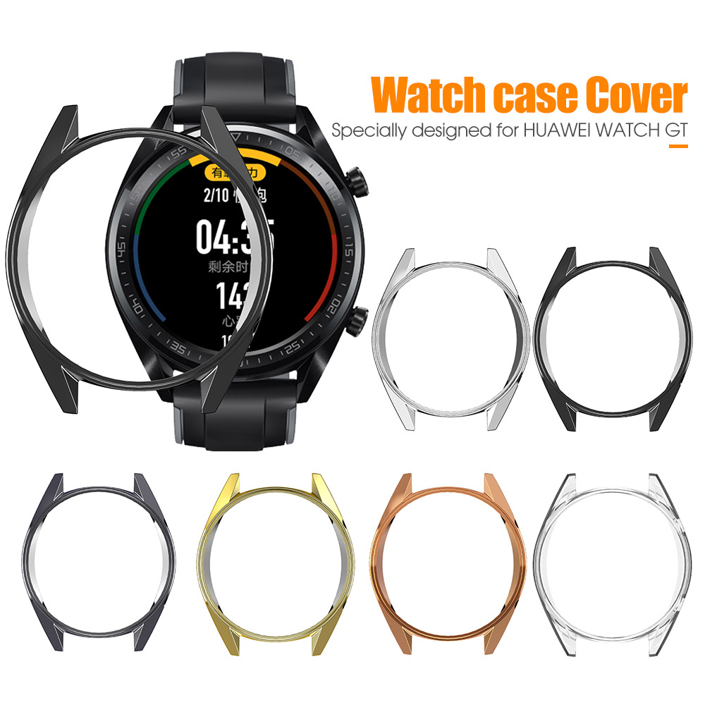 Plating TPU Slim Smart Watch Protective Case Cover For Huawei Watch GT Half Protector Frame Smartwatch Accessories