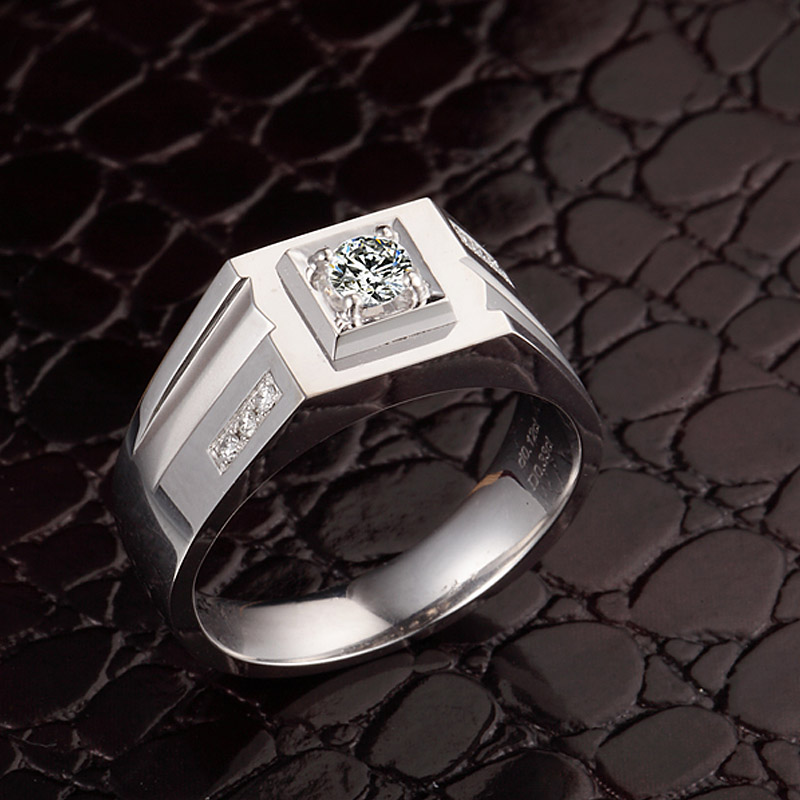 0.15+0.12ct Natural Diamond Wedding Ring for Men 18K White Gold H SI1 Round Diamond Engagement Jewelry  Custom