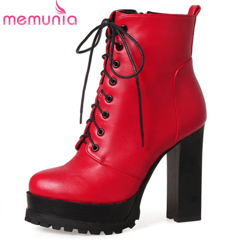 MEMUNIA Thin heels shoes sexy lady party shoes woman ankle boots for women spring autumn platform boots big size 34-43 new fashion round toe thin heels ankle boots for women wedding shoes platform pumps boots big size 34 43