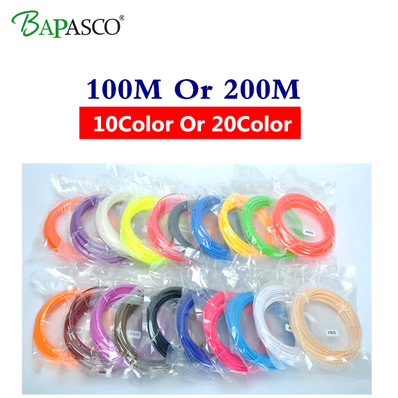 Original Bapasco 3D Pen Filament thread 1.75mm ABS 10 Or 20 Different Color for 3D printing pens wire rod 3D linear 100M Or 200M