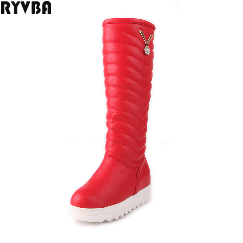 RYVBA woman knee high snow boots fashion thick plush warm thigh high boots winter boots for women shoes womens female plus size