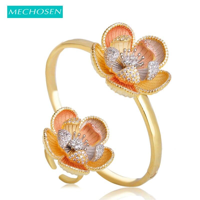 MECHOSEN Difficult Craft Flower Shape Jewelry Sets Bangle Ring 3 Tones Brass Cubic Zirconia Celebrity Banquet Hand Accessories