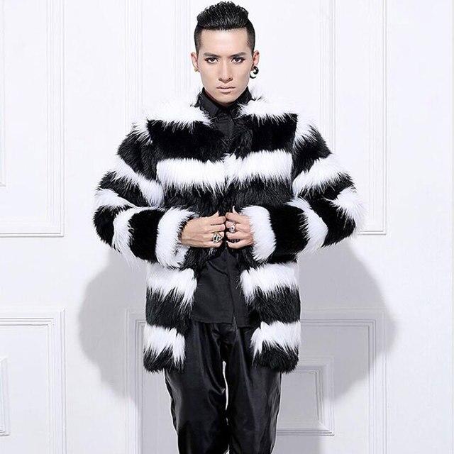 78efac4a59a Hot sell 2018 New arrival men winter faux fur coat Fashion Black White  stripe rabbit warm fur coats Plus Size Men Coat S-3XL