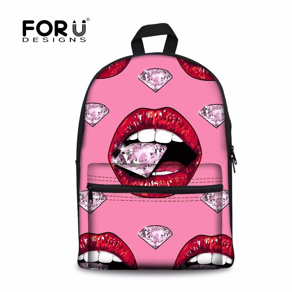 Forudesigns/пикантные красные Средства ухода за губами холст рюкзак для Для женщин путешествия ноутбук bagpacks Повседневное подросток Обувь для де...