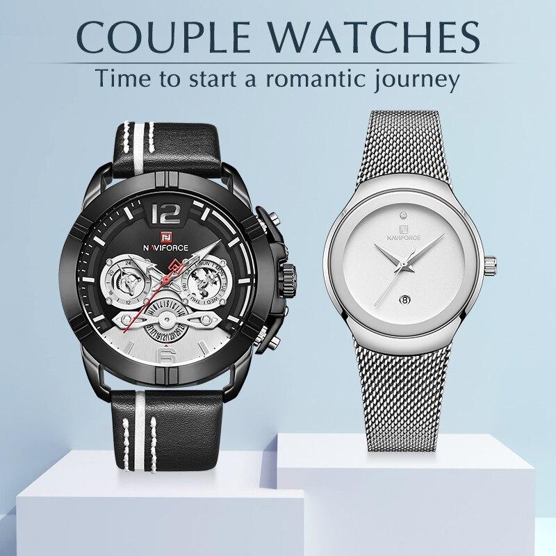 커플 시계 naviforce 남자 시계 톱 브랜드 럭셔리 쿼츠 시계 남자와 여자 시계 패션 캐주얼 연인 시계 세트 판매-에서수정 시계부터 시계 의  그룹 1
