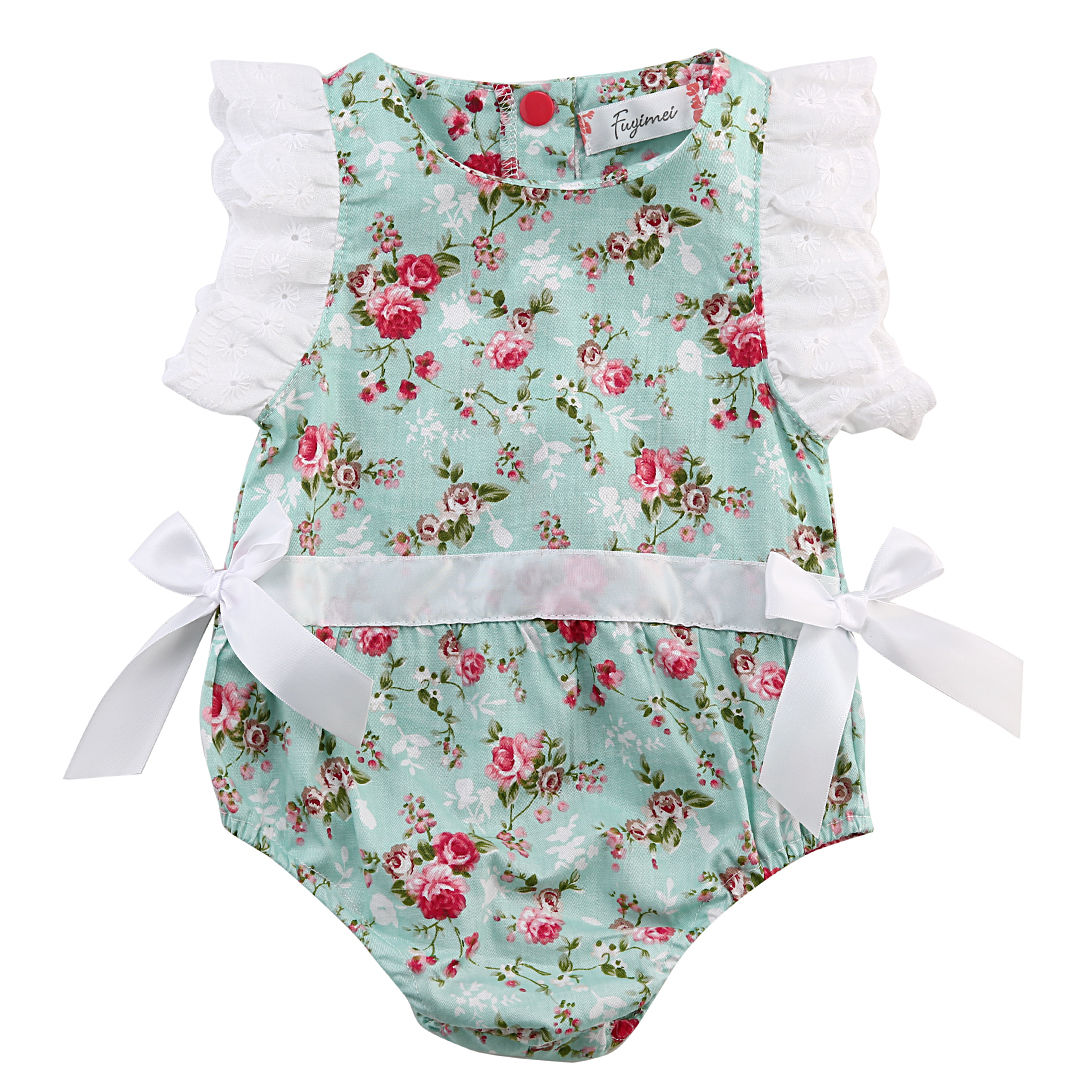 Cute Newborn Baby Girl Sleeveless Lace Floral Romper Jumpsuit One Pieces Outfits Summer Clothes 0-24M