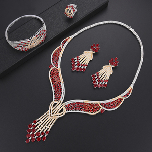 Image 4 - missvikki Trendy Romantic Red Austrian Crystal Luxury Noble Nigerian Wedding African Bridal Jewelry Set Women Attractive Jewelry