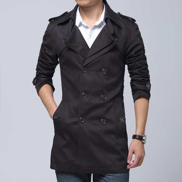 d2335cf97 Online Shop 2017 Fashion cotton trench coat men long slim fit large ...