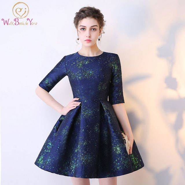 Walk Beside You women Cocktail Dress Navy Blue Half Sleeves Short ...