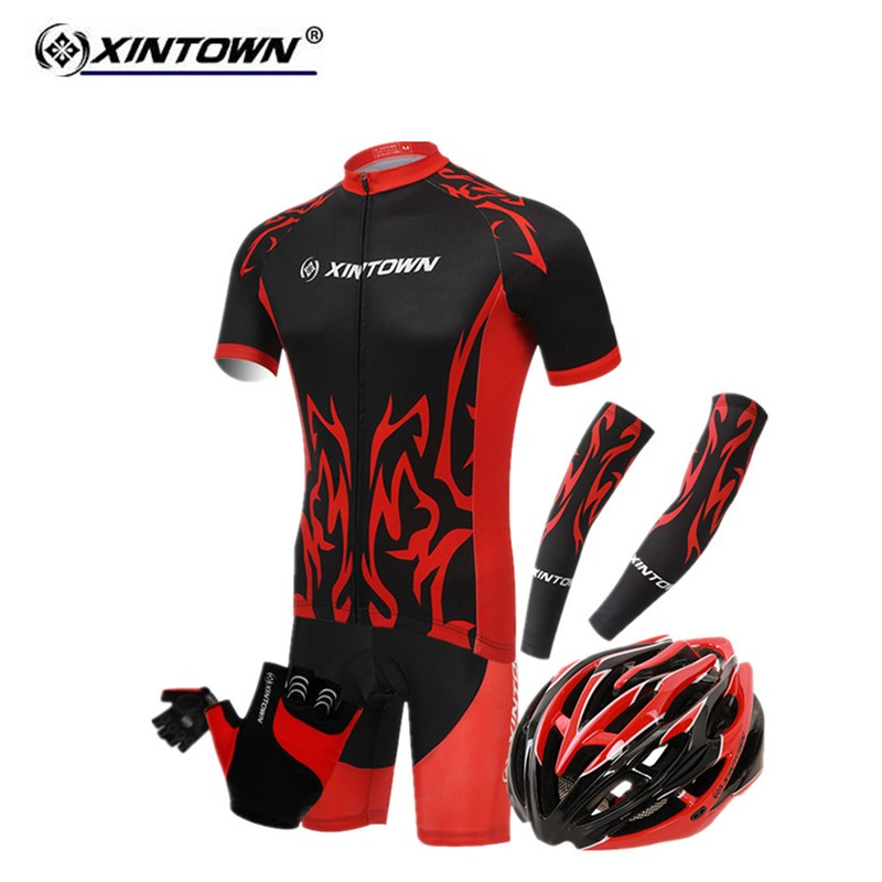 XINTOWN New Short-sleeved Jersey Helmet gloves Cuff Cycling Clothes Set Suit Banquet Bike Clothing Wear Riding Jersey Underwear xintown summer breathable mens team short sleeve cycling jersey riding clothing polyester bike set fluorescent shark