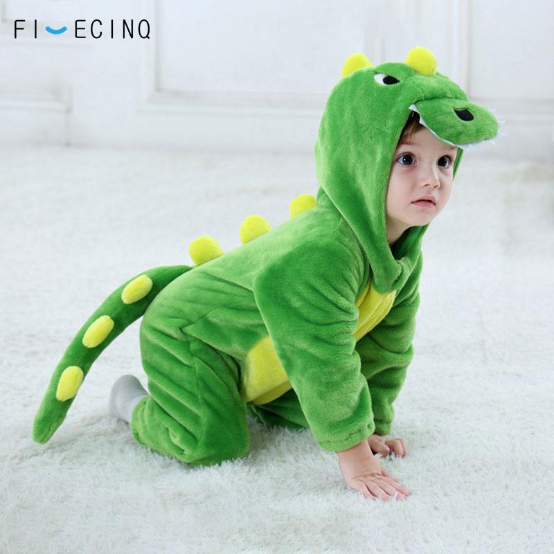Baby Dinosaur Kigurumis Green Animal Cartoon Cosplay Costume Infant Child Bodysuit Onepiece Onesie Flannel Comfortable Fantasias