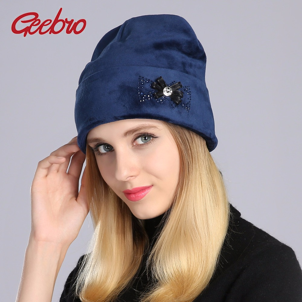 2aee4455637884 Detail Feedback Questions about Geebro Women's Beanie Hat Winter Casual Warm  Velvet Beanie With Rhinestones Ladies Knitted Beanies Hat Bonnet Cap DQ061  on ...
