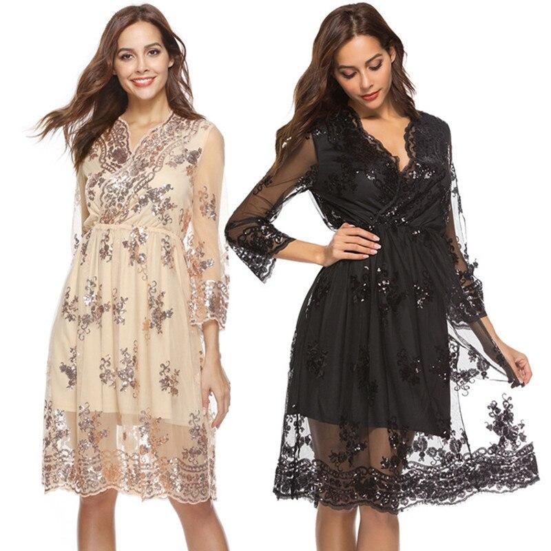 Abendkleider Sexy V Neck Long Sleeve   Cocktail     Dress   2018 Vestidos De Graduacion New Elegant Appliques Sequins Short Prom Gowns