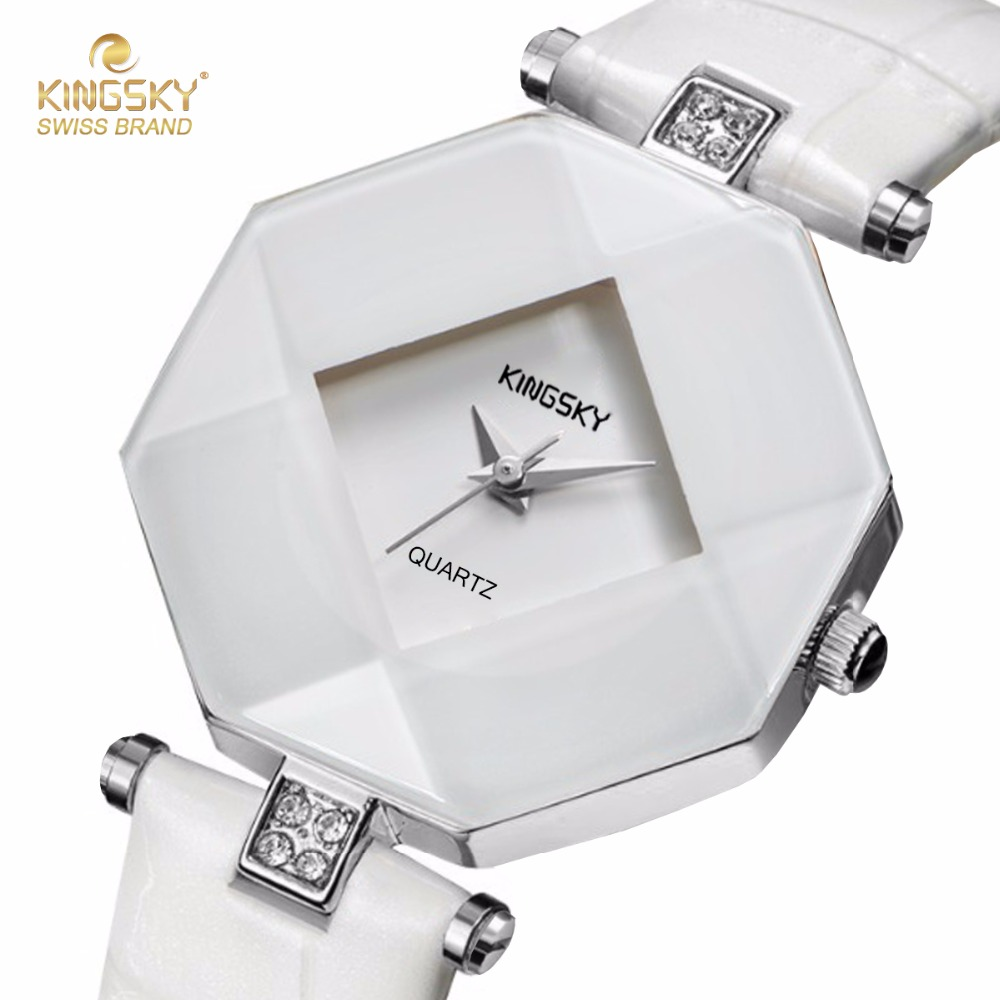 Relogio Feminino KINGSKY Luxury Brand Women Watches Fashion Casual Bracelet Watch White Leather Ladies Wrist Watch for Women relogio feminino just for us