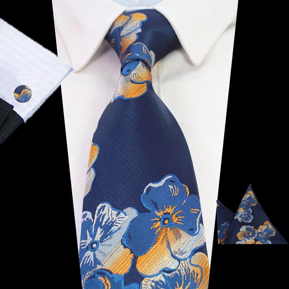 Ricnais Men's Tie Set Green Paisley Floral Silk Tie Gravata Pocket Square Cufflinks For Men Formal Wedding Party Groom Business