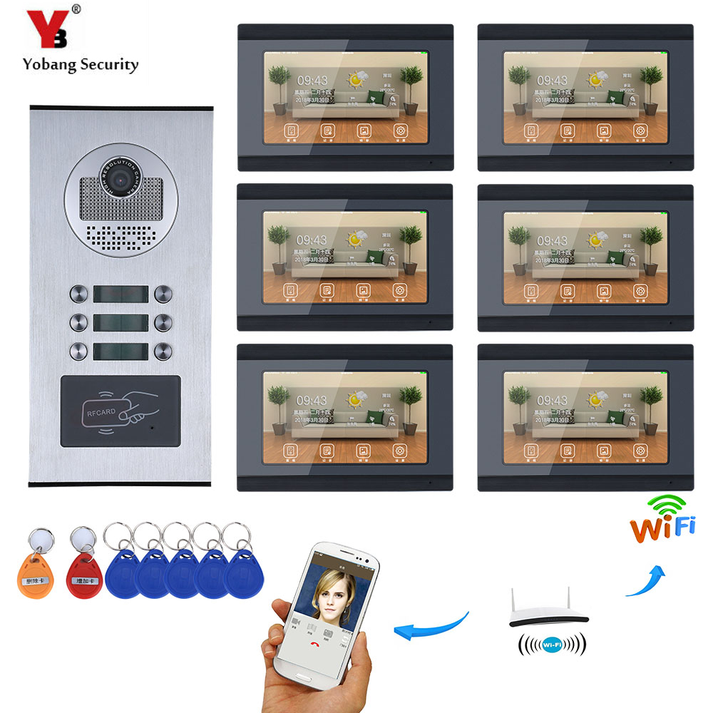 YobangSecurity 6 Units Apartment 7 Inch Monitor Wifi Wireless Video Door Phone Doorbell Intercom Camera KIT Video Recording APP yobangsecurity 5 units apartment video intercom 7 inch lcd wifi wireless video door phone doorbell video recording app control