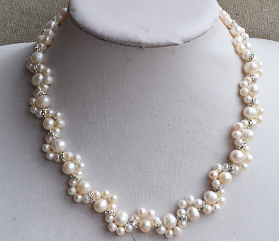 Bijoux de perles de mariage, 16 pouces 5.5-8mm couleur blanche collier de perles d'eau douce, collier de perles de fleur et de strass, belle femme