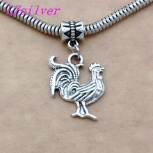 100pcs Ancient silver alloy Single-sided cute cock Charms Big Hole Beads Fit European Charm Bracelet Jewelry 21mm x 33mm A-107a