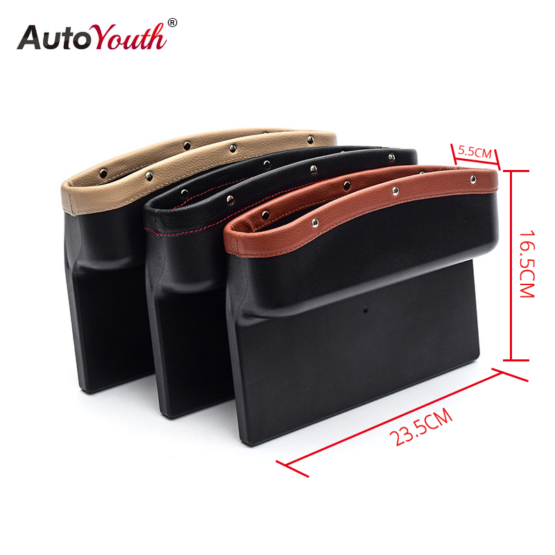 Image 5 - AUTOYOUTH Car Seat Crevice Pockets 3 Color PU Leather Leak Proof Storage Box Car Organizer Universal Car Seat Side Gap Pocket-in Stowing Tidying from Automobiles & Motorcycles