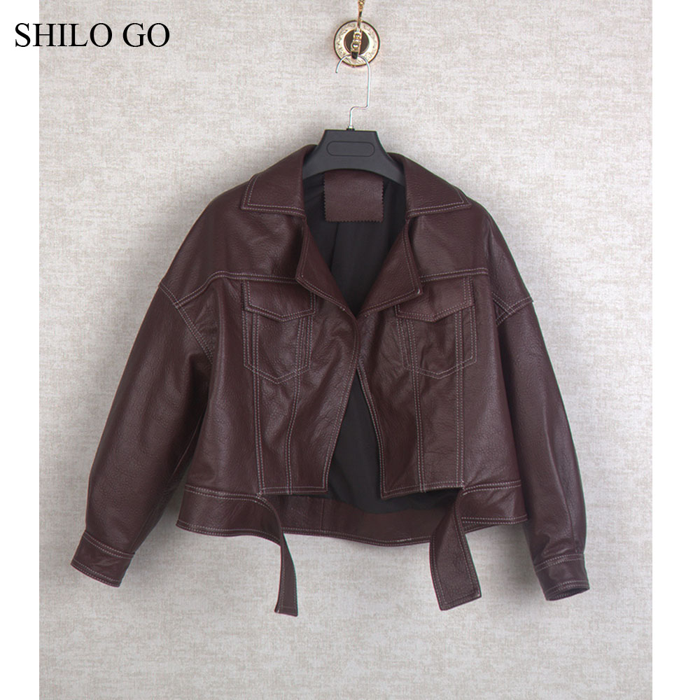 SHILO GO Leather Sets Autumn Fashion Sheepskin Genuine Leather Suit Lapel Blet Locomotive Jacket High Waist Zipper Short Skirt