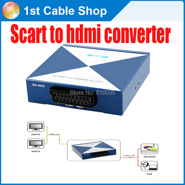Premium EU Scart to HDMI converter Scaler up to 720P/1080P supported with power