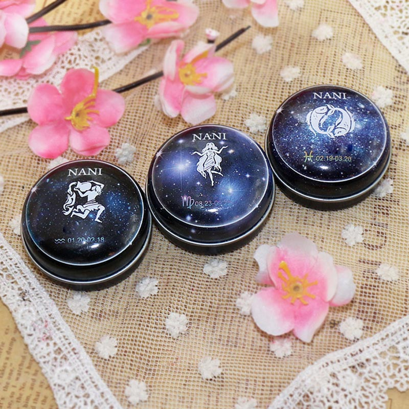 NI 12  Zodiac Sign Compact Scented Body Balm Skin Care Cream Flower Antiperspirant Essential SK88