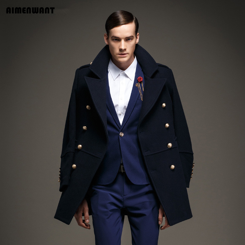 Popular Men Wool Pea Coat-Buy Cheap Men Wool Pea Coat lots from ...