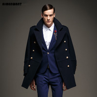 AIMENWANT 2017 newest men's clothing double breasted military retro wool pea coat Europe man warm army windbreak jacket trench