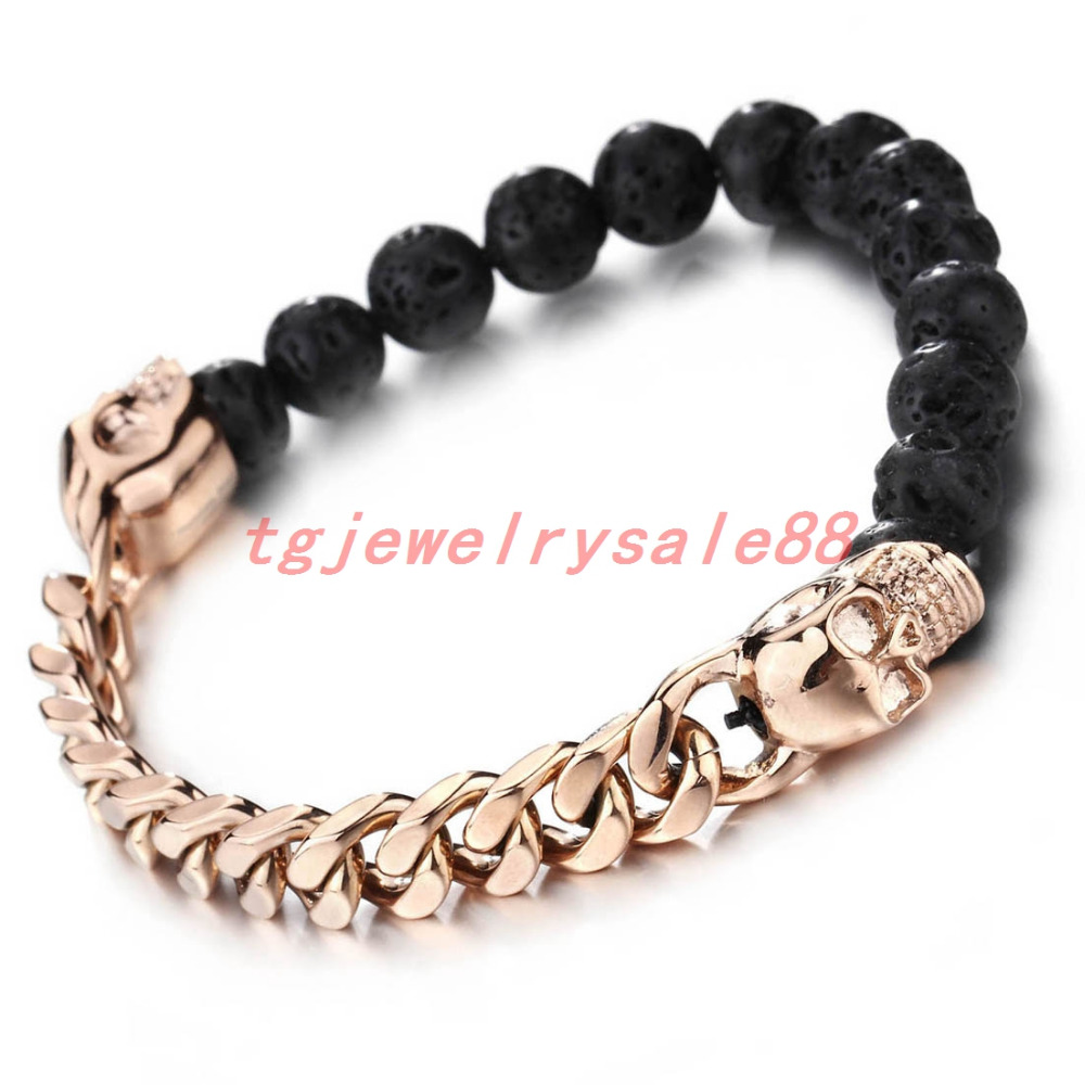 Handmade Cool Men's Beaded Bangle Stainless Steel Charm Rose Gold Skull Bracelet 8mm Classic Black Lava Stone Jewelry
