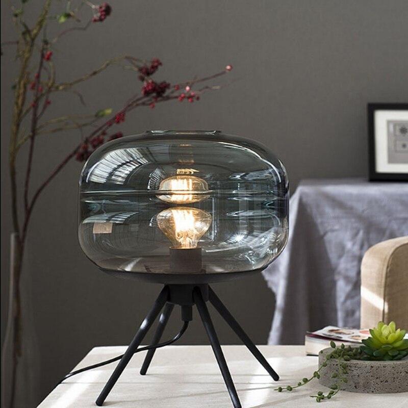 Moderne style scandinave bleu verre lampe de table art créatif matériel étagère E27 tungstène ampoule éclairage chambre décoration