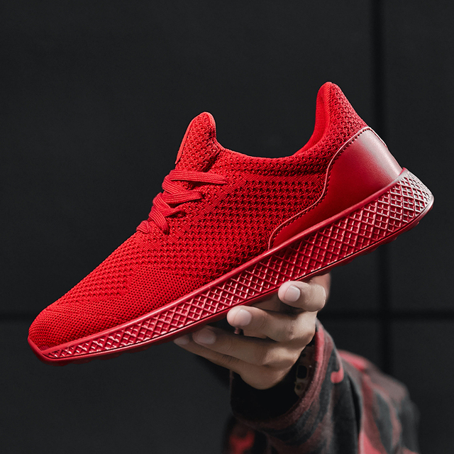 new product e0e11 e758e 2018 Sneakers for Men New Solid Color Black Red Gray Lightweight Sport  Shoes Men Soft Running Shoes Male Gym Plus Size 11 12 13