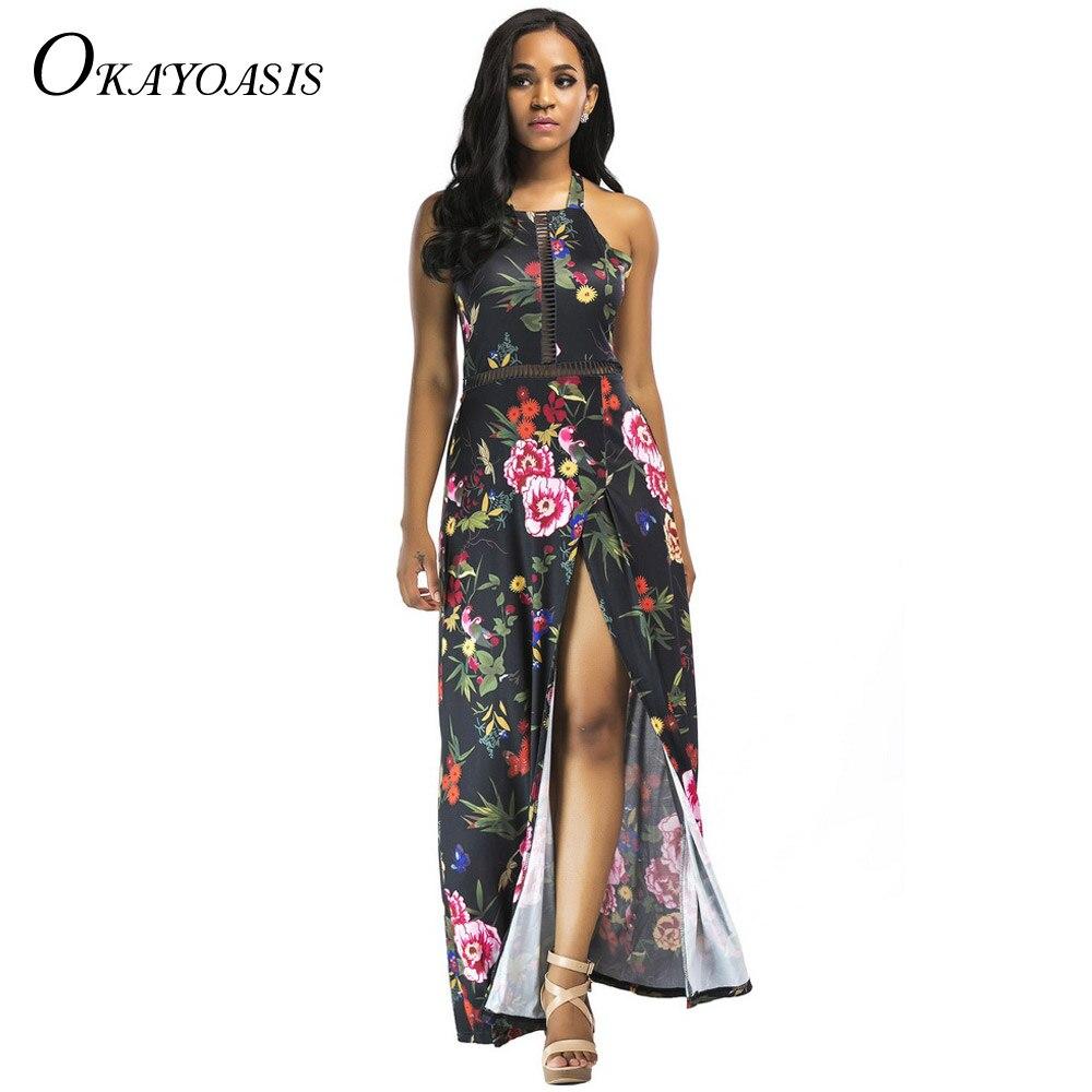 OKAYOASIS 2018 Women Sexy Split Dress Floral Print Empire Backless Halter  Maxi Dress Lady Bohemian Summer Beach Party Dress 26738c6bdcf7