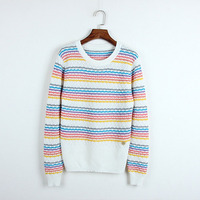Spring Autumn 2018 sweater women knit High Quality pullover rainbow hollow out striped jumper patchwork pull femme hiver mujer