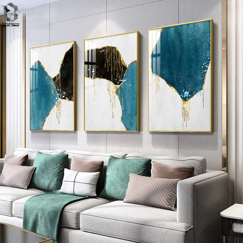 Modern Colour Dye Ink Splash Canvas Painting Posters and Print Abstract Decor Wall Art Pictures for Living Room Bedroom Aisle